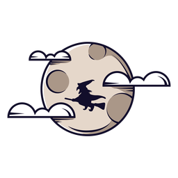 Full moon clouds icon cartoon