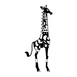 Girafa elegante preto