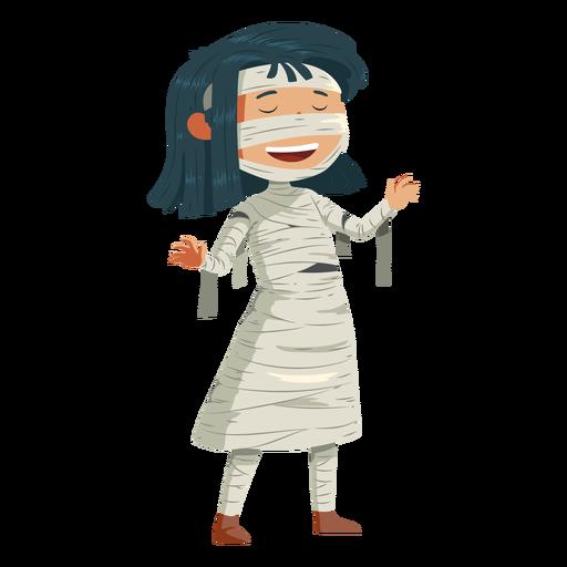 Niña llevando disfraz de momia