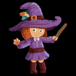 Chica vestida con traje de bruja