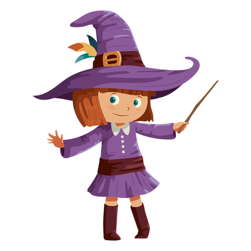 Girl wearing witch costume Transparent PNG