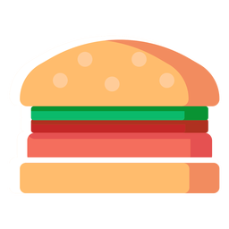 Hamburger burger flat icon
