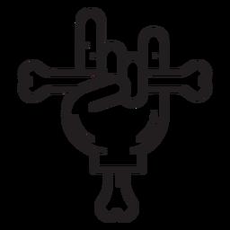 Mão segurando o ícone de linha de osso