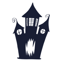 Haunted house face silhouette