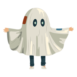 Kid wearing ghost costume