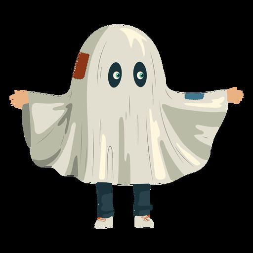 Niño disfrazado de fantasma