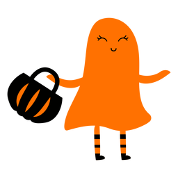 Kid wearing ghost costume illustration