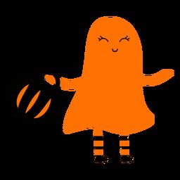 Niño con ilustración de disfraz de fantasma