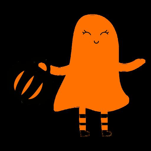 Ilustração de criança com fantasia de fantasma
