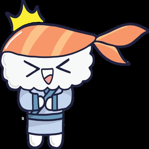 Riendo kawaii sushi boy cartoon