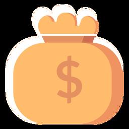 Ícone plano de bolsa de dinheiro