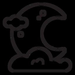 Icono de línea de luna de noche