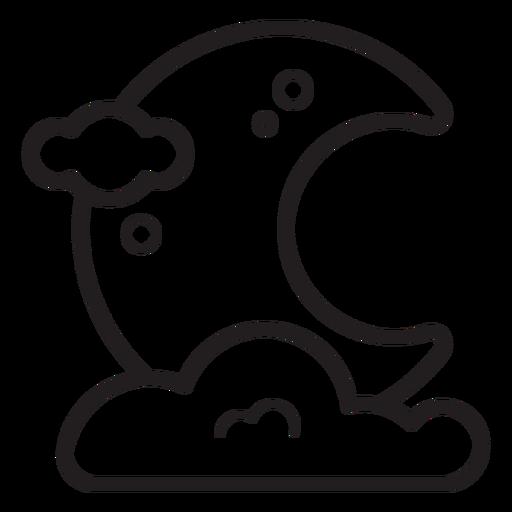 Night moon line icon