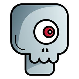 One eyed skull cartoon icon