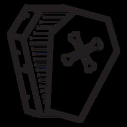 Icono de línea de ataúd abierto