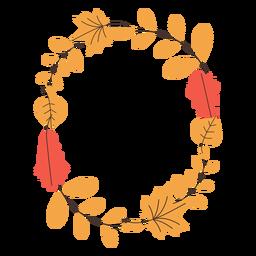 Marco ovalado de hojas de otoño