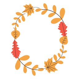 Oval autumn leaves frame