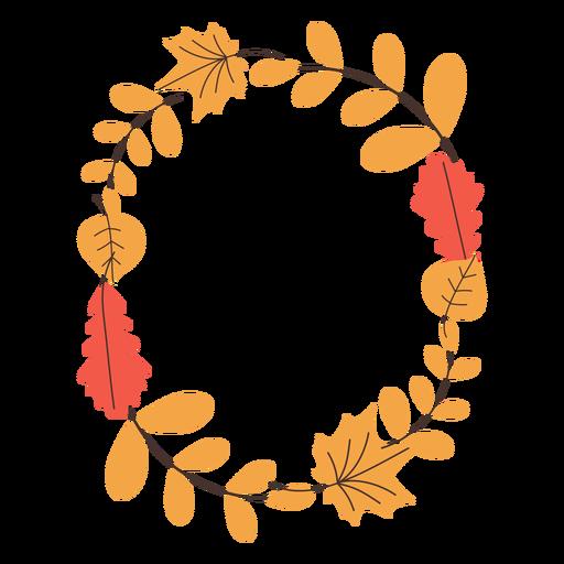Oval autumn leaves frame Transparent PNG