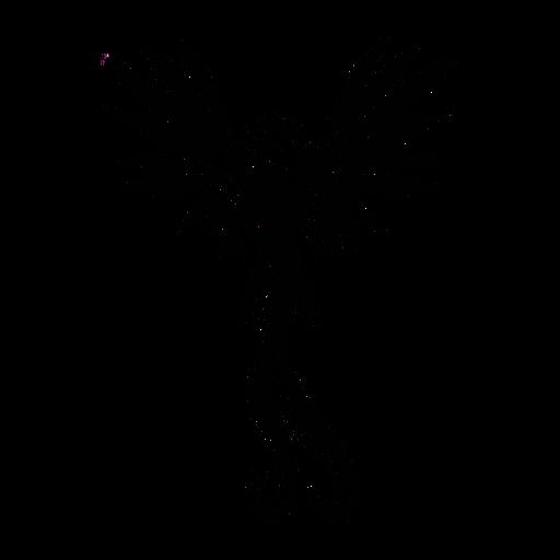 O papa-moscas do paraíso voando em preto elegante