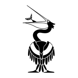 Pelikan, der Fisch stilvolles Schwarz isst