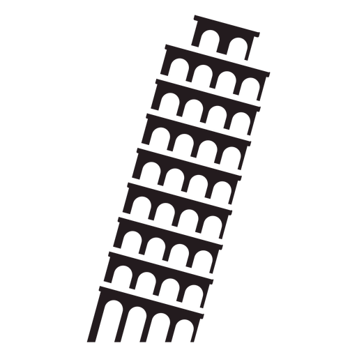 Pisa leaning tower black