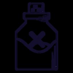 Línea de icono de vial de veneno