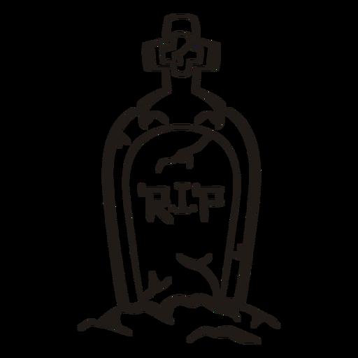 Rip lápida silueta dibujada a mano