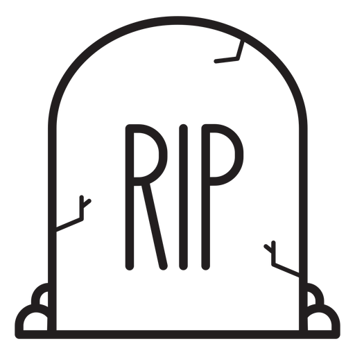 Icono de línea de lápida de rip