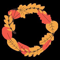 Marco redondo de hojas de otoño