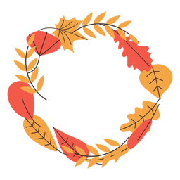 Round autumn leaves frame