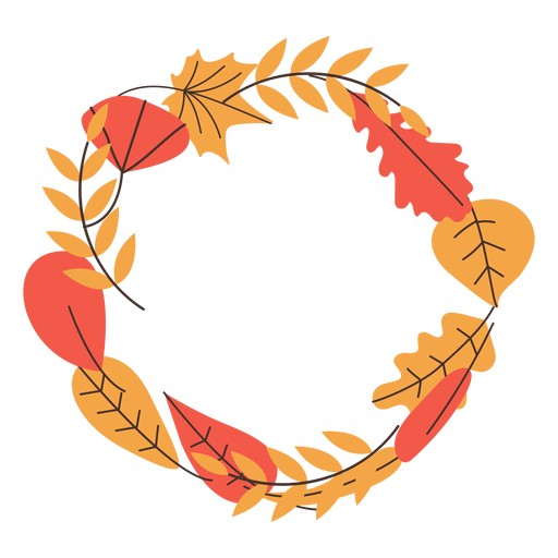 Round autumn leaves frame Transparent PNG