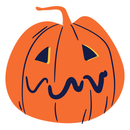 Sad carved pumpkin illustration