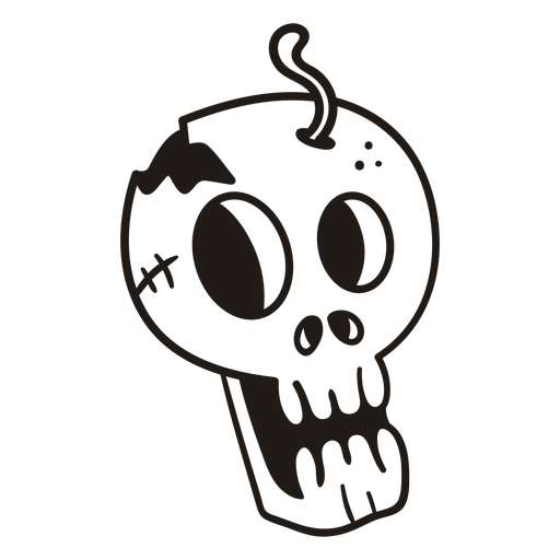 Scared skull hand drawn silhouette