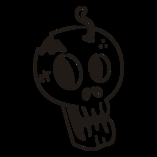 Silueta dibujada a mano de cráneo asustado