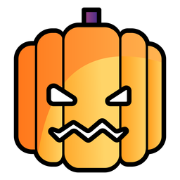 Scary pumpkin cartoon icon