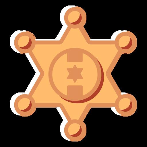 Icono plano de insignia de estrella de sheriff