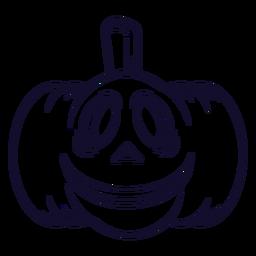 Línea de icono de calabaza tallada sonriente