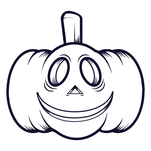 Smiley carved pumpkin icon line Transparent PNG