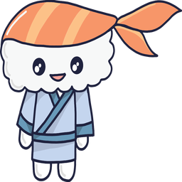 Smiley kawaii Sushi Junge Cartoon