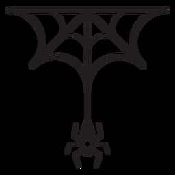 Icono de línea de araña y web