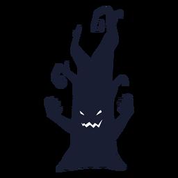 Silueta de personaje de árbol espeluznante