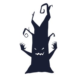 Spooky tree character silhouette