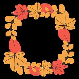 Marco cuadrado de hojas de otoño