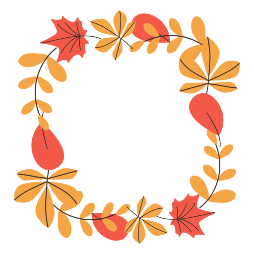 Square autumn leaves frame Transparent PNG