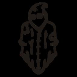 Fantasma cosido silueta dibujada a mano