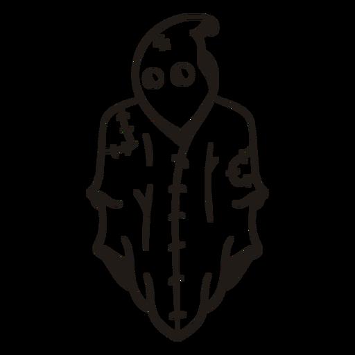 Silueta dibujada a mano fantasma cosido