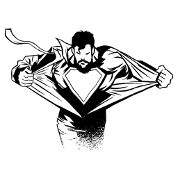 Silhueta reveladora de super-herói