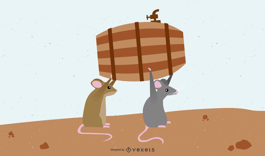 Ratones que llevan barril de cerveza