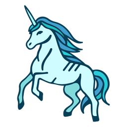 Unicorn rearing cartoon