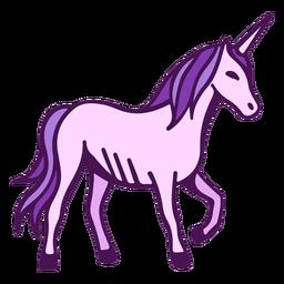 Dibujos animados de vista lateral de unicornio
